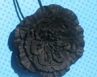 Midnight - Paper Flower Pendant Necklace