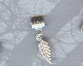 Silver Fancy Leaf Lrg Hole Bead Fits All European, Chamilia, Troll, Add a Bead Charm Bracelet Jewelry Pnd-G53