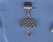 Silver Umbrella  Lrg Hole Bead Fits All European, Chamilia, Troll, Biagi, Perogatives Add a Bead Charm Bracelet Jewelry Pnd-G13