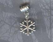 Silver Snowflake Lrg Hole / Big Hole Bead Fits all European Add a Bead Charm Bracelet Jewelry PND-SY12