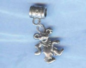 Silver Deddy Bear Lrg Hole Bead Fits All European Style Add a Bead Charm Bracelet Jewelry PND-G068eb