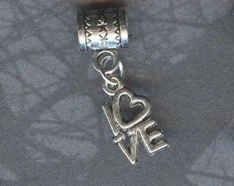 Silver Love Affirmation Lrg Hole Bead Fits All European Add a Bead Charm Bracelet Jewelry PND-SY08