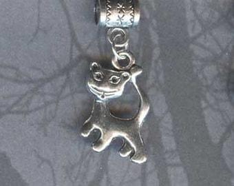 Kitty Cat Lrg Hole Bead Fits All European Add a Bead Charm Bracelet Jewelry Pnd-A21eb