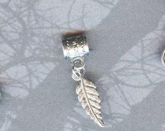 Silver Fancy Leaf Lrg Hole Bead Fits All European Style Add a Bead Charm Bracelet Jewelry Pnd-G53