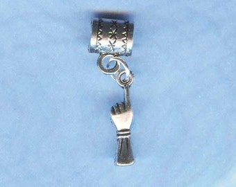 Silver One Moment Please Lrg Hole Bead Fits All European  Add a Bead Charm Bracelet Jewelry Pnd-Sy60