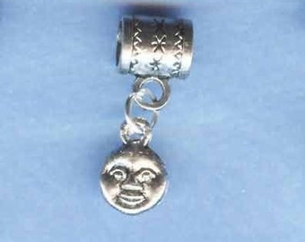 Silver Moon Face Lrg Hole Bead Fits All European  Add a Bead Charm Bracelet Jewelry Pnd-C05