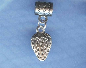 Silver Strawberry Lrg Hole Bead Fits All European Add a Bead Charm Bracelet Jewelry Pnd-G28