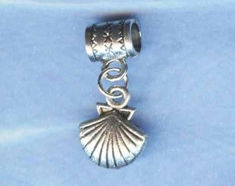 Silver Sea Shell Lrg Hole Bead Fits All Europeal Styles of  Add a Bead Charm Bracelet Jewelry Anm-061