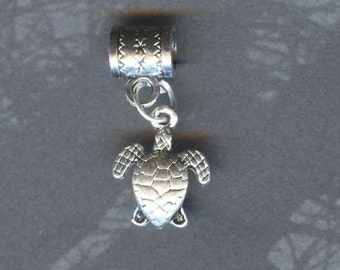Silver Sea Turtle Lrg Hole Bead Fits All European Style, Add a Bead Charm Bracelet Jewelry PND-ANM39