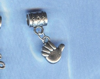 Silver Thumbs Up Lrg Hole Bead Fits All European Add a Bead Charm Bracelet Jewelry Pnd-S53eb