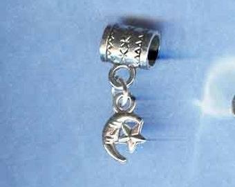 Silver MOON AND STAR Lrg Hole Bead Fits European style Add a Bead Charm Bracelet Jewelry Pnd-Cel11