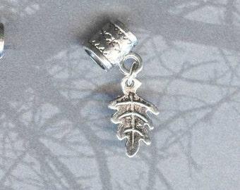 Silver Leaf Lrg Hole Bead Fits All European, Add a Bead Charm Bracelet Jewelry Pnd-G52