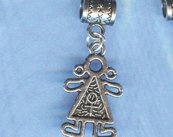Silver GIRL Charm Lrg Hole Bead Fits  All European Style  Add a Bead Charm Bracelet Jewelry Pnd-G15