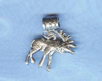 Silver Moose Lrg Hole Bead Fits All European Add a Bead Charm Bracelet Jewelry PND-A25