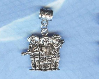 Silver Mexican Band Lrg Hole Bead Fits All European Styles of  Add a Bead Charm Bracelet Jewelry Pnd-G21