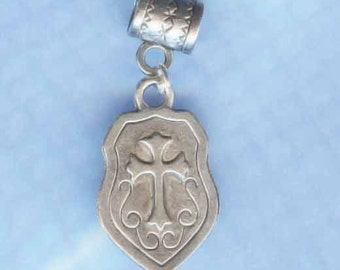 Silver Medieval Shield Lrg Hole Bead Fits All European Style Add a Bead Charm Bracelet Jewelry PND-Fn008eb