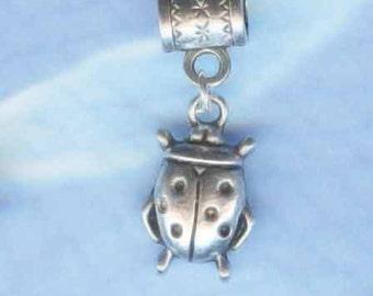 Silver Ladybug Lrg Hole Bead Fits All European Style Themed Add a Bead Charm Bracelet Jewelry PND-Anm069