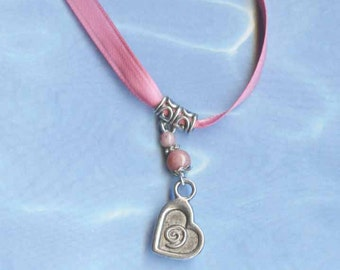 Spread Love to the World Necklace Pink and Silver