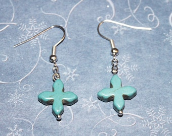 Turquoise Cross Handcrafted  Earrings RecEr01
