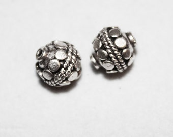Authentic Bali Round Sterling Silver Beads Jewelry Findings Lot of 2 Hb-Rnd