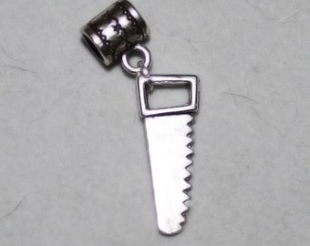 Silver Hand Saw Lrg Hole Bead Fits All European Style Add a Bead Charm Bracelet Jewelry Pnd-Gn130