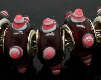 Silver Lampwork Glass Beads - Burgundy White and Pink, fits All European Style Add a Bead Jewelry Gpnd-044