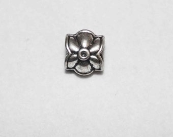 Silver Floral Big Hole Bead Fits All European  Add a Bead Charm Bracelet Jewelry BHB-001