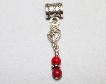 Sterling Silver Open Heart & Red Jade Lrg Hole Bead Fits All European  Add a Bead Charm Bracelet Jewelry Pnd-Cgm016