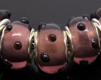 Silver Lampwork Glass Beads - Mauve Pink with Black , fits All European Style Add a Bead Jewelry Gpnd-019
