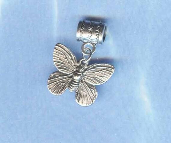 Silver Butterfly Lrg Hole / Big Hole Bead Fits All European Add a Bead Charm Bracelet Jewelry Pnd-Anm35