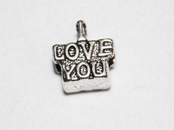 Silver 3D I Love You Lrg Hole Bead Fits All European, Chamilia, Troll, Add a Bead Charm Bracelet Jewelry Pnd-Bd031