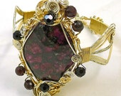 Eudialyte and Garnet Fancy Wire Bangle