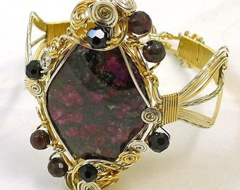 Eudialyte and Garnet Sterling Silver and 14k Gold Bangle