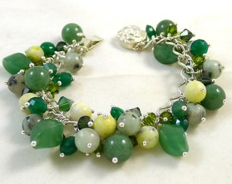 Green Gemstone Charm Bracelet