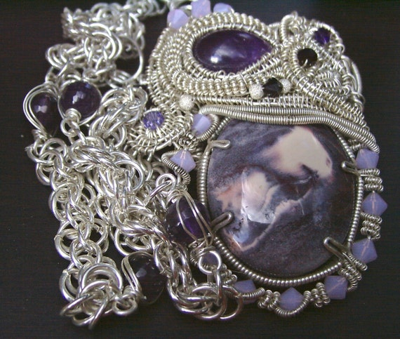 Exotica and Amethyst Pendant with Chainmaille Necklace