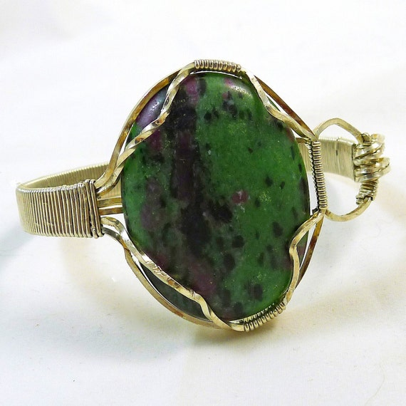 Ruby in Zoisite Sterling Wired Bangle