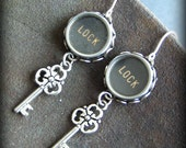 LOCK and KEY - Vintage Typewriter Keys Earrings