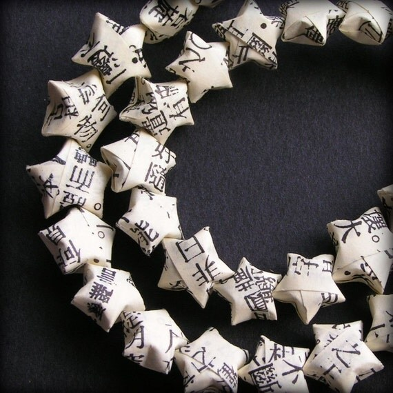 LUCKY STAR BEADS - Buddhist Text Upcycled Paper Origami Beads Strand - Made To Order