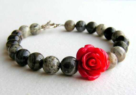 ONCE UPON a TIME - Red Rose Among Silver Leaf Jasper Bracelet