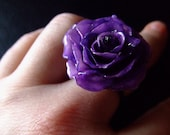 tropical violet purple PRESERVED REAL ROSE Ring by Bela Brazilian Designs