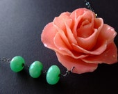 XXXlarge real preserved PINK ROSE BLOOM and chrysoprase necklace by BelaBrazilianDesigns