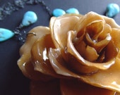 real preserved CHAMPAGNE ROSE BLOOM and turquoise necklace by BelaBrazilianDesigns