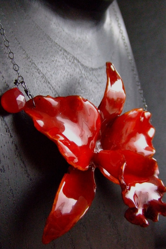 real preserved RED CATTLEYA ORCHID necklace by BelaBrazilianDesigns