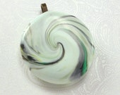 Round Mint Green Swirly Pendant with Black Swirls