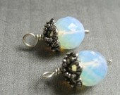 Faceted Opaline dangles with ornate bead cap