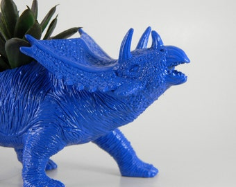 Dinosaur Planter True Blue for Succulent Plants and Small Cacti
