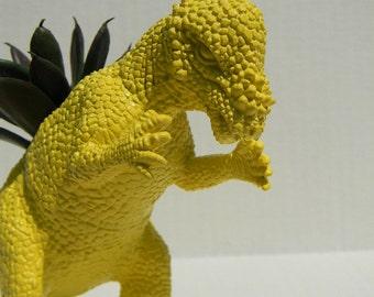 Yellow Dinosaur Planter Office Decor Theme Dorm Decor Get Well, Teacher, Boss', Gift Succulent Planter Pachycephalosaurus
