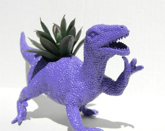 Dinosaur Planter Raptor in Royal Purple Geek Home Decor