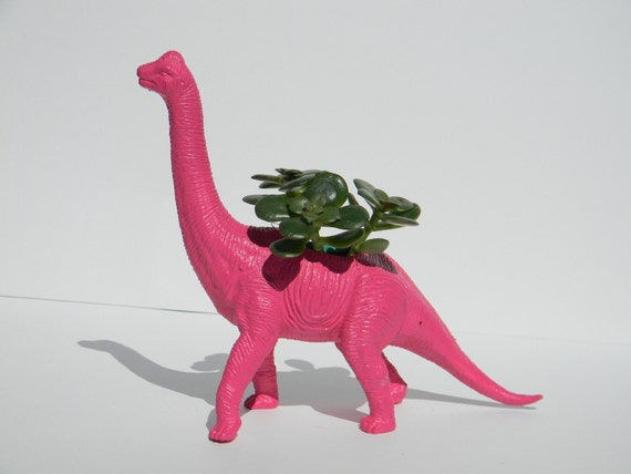 Geek Gift Dinosaur Planter Bubble Gum Pink Dorm Decor Back to school or college