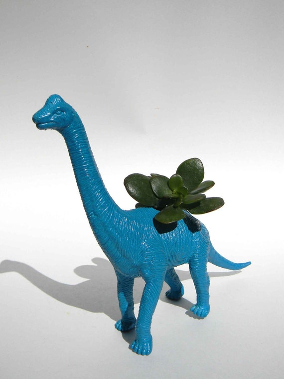 Office Desk Decor Dinosaur Planter True Blue For Succulent Or
